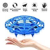 HUSAN UFO Drone Juguete para Niños y Adultos, Avión Volador de Inducción por Infrarrojo Controlado a Mano con Luces LED de Juguete de Carga USB de Regalo (Azul)