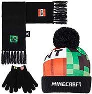 Minecraft Guantes, Gorro y Bufanda Niño, Conjunto Invierno para Niños, Guantes Invierno y Sombrero, Accesorios