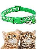 Zuionk Katzenhalsband mit Schelle?Haustiere Katzen Halsband aus Weichem Leder, Polsterung, Wetterfest, reißfest, Wasserabweisend,6Farben Halsbänder