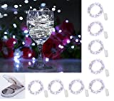 8 Pack 20 LED Micro Moon Starry Lights on Extra Thin Silver Wire, 2 x CR2032 Batteries Required and Included, 5 Ft (1.5m) for DIY Wedding Centerpiece or Table Decorations, Pure White