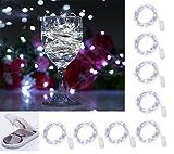 Paquet de 8 lumières étoilées de lune de micro de 20LED sur le fil d'argent mince su,5pi (1,5m) pour pièce maîtresse de mariage ou décorations de table, blanc pur