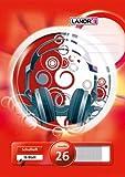 LANDRE 100050040 Schulheft 10er Pack A4 16 Blatt Lineatur 26 - kariert mit Rand 3 Motive sortiert