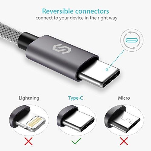 Syncwire USB C Kabel ladekabel - 2M Schnell USB Typ C auf USB 3.0 Ladekabel für Type C Geräte, Samsung Galaxy S8/S9/S10, Huawei P20/P10/P30/P9, HTC 10/U11, Nexus 5X/6P, OnePlus 2 und mehr - Nylon Grau