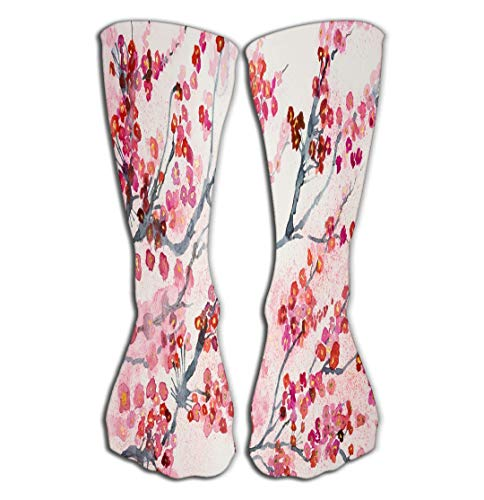 Hohe Socken Outdoor Sports Men Women High Socks Stocking branches cherry blossoms dabbing technique gives soft focus effect due to altered surface roughness paper Happy Tile length 19.7