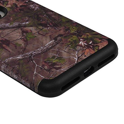 iPhone 7 Case Schutzhülle iPhone 7 Hülle YOKIRIN Hybrid Case Cover Premium Dual Layer Schutz Handyhülle Hart PC Hardcase Hartschale + Innere Flexibel TPU Silikon Case Skin Handytasche Bunt Muster:Gart Holz schwarz