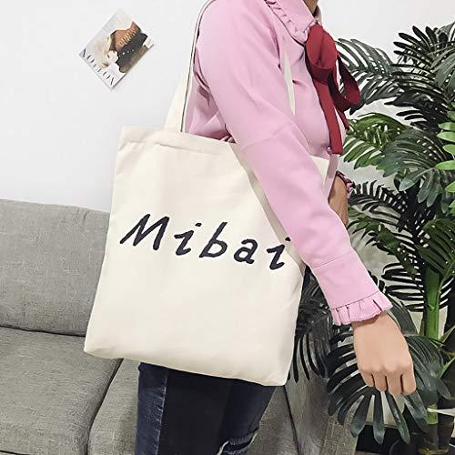Xmiral Handbag Shoulder Bag Women Joker Fashion Canvas Bag Student Casual Stylish Satchel Soft Handle Zipper Crossbody Bag(Beige)