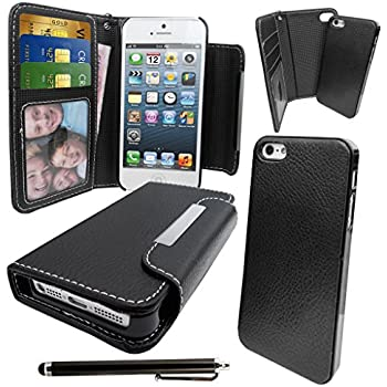 LOVE MY CASE / Apple iPhone 5 Black PU Leather Wallet case with Magnetic Removable Hard Cover with Stylus & Screen Protector.