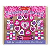 Melissa & Doug Shimmering Hearts Wooden Bead Set: 45 Beads and 3 Laces for JewelryMaking