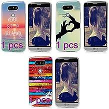 Coque LG G5 Etui x 3 Peinture TPU Silicone Cover Ultra Léger Doux Lisse lumière Créatif Exclusif de Protection de Transparent Téléphone Case Pour LG G5 -- Belle Combinaison