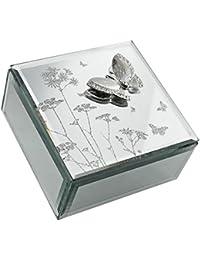 HE555JB Hestia Butterfly & Flowers Glass Jewellery Box