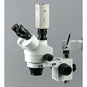 7X-45X Trinocular Stereo Zoom Microscope with Double Arm Boom Stand