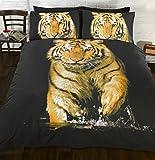 Art Funda de edredón y fundas de almohada diseño de tigre fotográfico anaranjado (King)