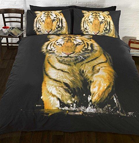 Funda de edredón y fundas de almohada por Art con diseño de tigre fotográfico anaranjado (King)