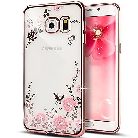 Samsung Galaxy S6 Edge hülle, Eleganter Bling Funkeln ultradünne Galvanisiergeräte weicher Gel Kristallrhinestone Diamant freier Gummi TPU Silikon TPU Tasche Schutzhülle Hülle Tasche für Samsung Galaxy S6 Rand [Pink Pink