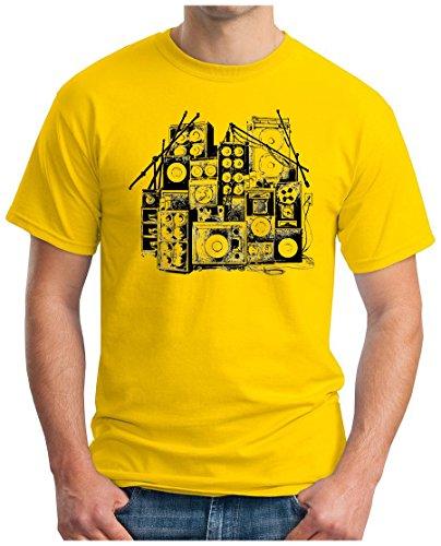 OM3 - MUSIC BOX - T-Shirt DJ BOOM Rockabilly Rap Hip Hop House Rock PUNK INDIE RnB, S - 5XL Gelb