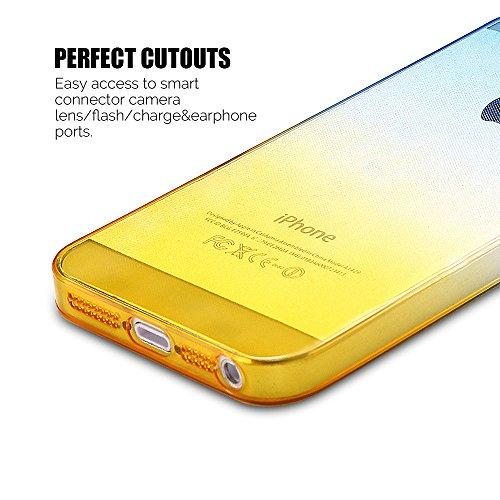 Coque iPhone 5 / 5S / SE (4.0 pouce) , TPU Transparente Case Gradient de couleur Slim Souple Étui de Protection Flexible Soft Silicone Cover Anti Choc Ultra Mince Couverture Bumper Caoutchouc Gel Anfi Bleu et Jaune