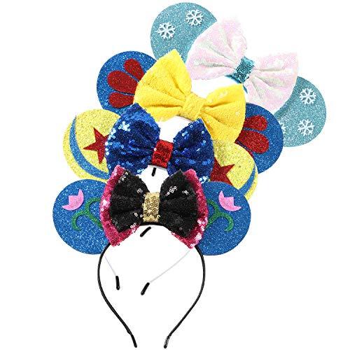 Bascolor 4stk öhrchen Haarreif Minnie Ohren Glitzer Süße Mouse Ohren Haarband mit Pailletten Bogen Kopfschmuck Haarschmuck für Kinder Mädchen Frauen Minnie Kostüm Party Karneval (Schneewittchen Family Kostüme)