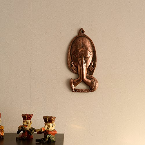 eCraftIndia Welcome Lady Metal Wall Hanging (13.46 cm x 2.54 cm x 29.46 cm, Brown)