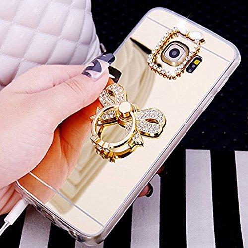 Custodia Cover per Samsung Galaxy S7 Samsung G930, Ukayfe Cover Specchio Lusso Placcatura Lucido di Cristallo di Scintillio Strass Diamante Glitter Caso per iPhone 7 Plus[Crystal TPU] [Shock-Absorptio Arco di Diamante Oro 3#