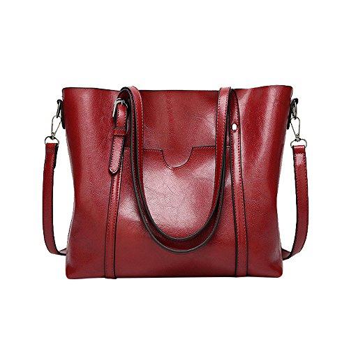 TianWlio Handtasche Damen Modus Retro Umhängetasche Eimer Tasche Tragetasch Schultertasche Handtasche rot