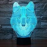 Wolf Kopf Tier 3D Lampe Optische LED Täuschung Nachtlicht,HAIYU 7 Farbwech mit Acryl Flat & ABS Base & USB-Ladegerät ändern Berühren Sie Botton Schreibtisch lampe Tischleuchte