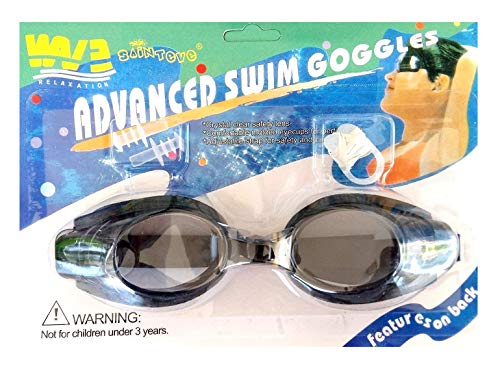 Inception Pro Infinite Schwimmbrille für Erwachsene und Kinder mit Nase und Ohrstöpsel (Schwarz)