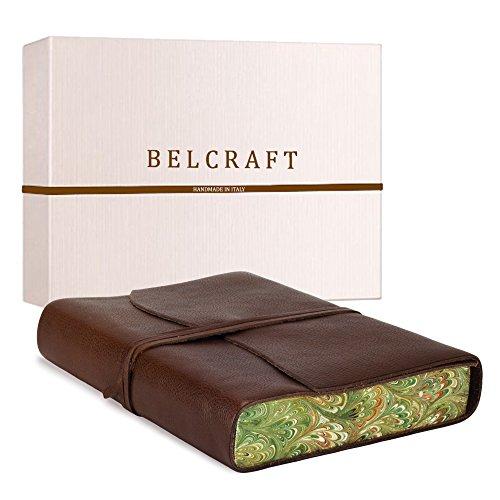 Venezia Romantica A5 mittelgroßes Notizbuch aus Leder, Handgearbeitet in klassischem Italienischem Stil, Geschenkschachtel inklusive, Tagebuch, Lederbuch A5 (15x21 cm) Braun