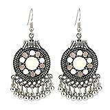 Meigold 1 Paar Frauen Ohrringe Bommel Stil für Mädchen Geburtstag Hochzeit Schmuck Ohrringe, weiß, 6.7cm*3.1cm