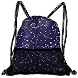 Juzijiang Star Map Fashion Beam Mouth Shoulder Bag Travel Drawstring Backpack Shoulder for Unisex