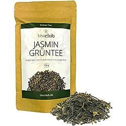 Jasmintee lose 100g/Grüner Tee mit Jasminblüten ohne Aromazusatz/Ausgeprägter Jasmin-Duft und leicht fruchtiger Note/Jasmin Grüntee von TeaClub