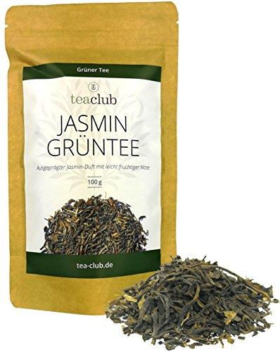 Jasmintee Lose 100g, Grüner Tee mit Jasminblüten echt Aromatisiert, Jasmin Grüntee mit ausgeprägtem Jasmin-Duft und Fruchtiger Note, TeaClub