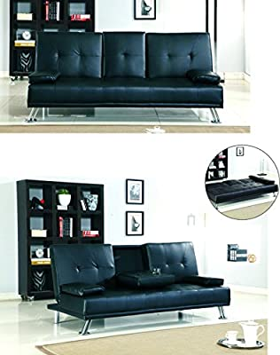 Comfy Modern New Black Faux Leather 3 Seater Sofa Bed Fold Down cup holder UK