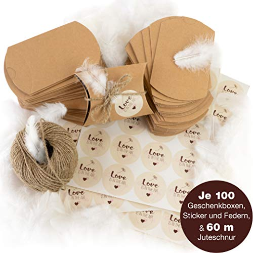 WeddingTree 100 Cajas de papel kraft
