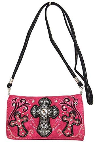 Blancho Biancheria da letto delle donne [Croce Satchel] PU Leather Bag Set Elegante Portafoglio Hanbag Combo Bag borsa di modo TURCHESE COMBO-FUCHSIA