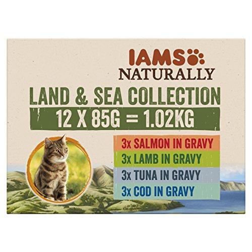 Iams Naturally Katze Land & Sea Collection Multibox groߟ (Nassfutter für erwachsene Katzen, Fleisch und Fisch in Sauce), 12 x 85 g Frischebeutel, 1er Pack (1 x 1.02 kg)