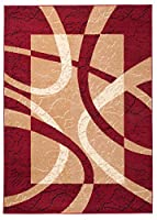 "Area Rugs For Living Room Bedroom Red Modern Pattern Striped Size S - XXL 60 x 100 cm (2ft x 3ft4"") by TAPISO RUGS UK"