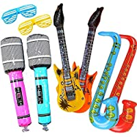 Yojoloin Super Giant 6PCS Jumbo Inflatables Guitar Saxophone Microphone Musical Instruments Accessories For Party Supplies Party Favors Balloons Random Color (6 PCS)