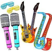 Yojoloin Super Giant 6PCS Jumbo Inflatables Guitarra Saxofón Micrófono Instrumentos Musicales Accesorios para Fiesta Suministros favores