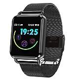 Love Life Männer und Frauen Smart Watch wasserdicht, Sport-Fitness-Tracker Smart Armband Pedometer (schwarz), kompatibel mit iPhone und Android-Handys,Black