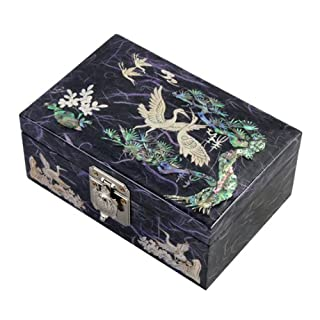 Mother of Pearl Birds and Pine Tree Design Lacquered Wooden Purple Mirrored Jewellery Trinket Keepsake Treasure Gift Box Case Chest Organizer