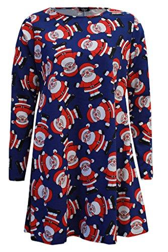 Damen Christmas Novelty Santa Tartan Swing Kleid Damen Mädchen Flared Weihnachts Top Navy Santa