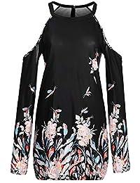de6b7c3ee139 IYHENZ Damenmode Langarm Cold Shoulder Floral Border Print Shift Minikleid  Partykleid Schulterfrei Sommerkleid Solide Rock Mädchen