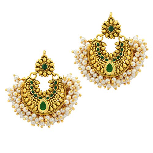 Ramleela Bollywood Designer Gold Plated Premium Earring - Green  available at amazon for Rs.349