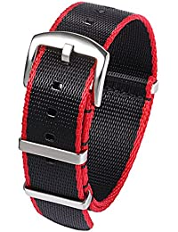 PBCODE Seat Belt Nylon NATO Strap Heavy Duty Military Watch Band Replacement Watch Straps 20mm Black Red