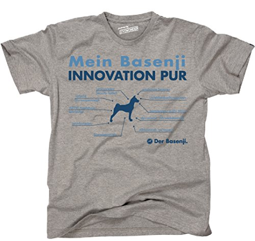Siviwonder Unisex T-Shirt INNOVATION BASENJI TEILE LISTE Hunde lustig fun Sports Grey