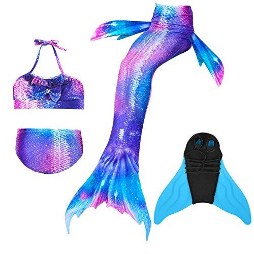 Superstar88 2018 Meerjungfrau Schwimmen Schwanz mit Monoflosse, Mädchen Bikini Badeanzug Kostüm Schwanz Sets Kinder Schwimmflossen (Lila, 130)