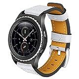 Gear S2Classic/Gear Sport Lederband aisports 20mm Leder Smart Watch Band Ersatz Armband Armband für Samsung Gear S2Classic R732/R735/Gear Sport R600/Moto 3602nd Gen 42mm weiß