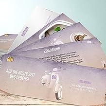 Einladungskarten 60 Geburtstag Selbst Gestalten, Vespa 20 Karten,  Kartenfächer 210x80 Inkl. Weiße Umschläge