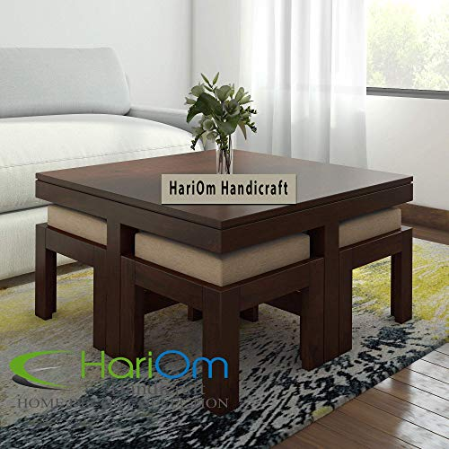 Hariom Handicraft Sheesham Wood Coffee Table | Center Table with 4 Stool   Espresso Finish with Cream Cushion