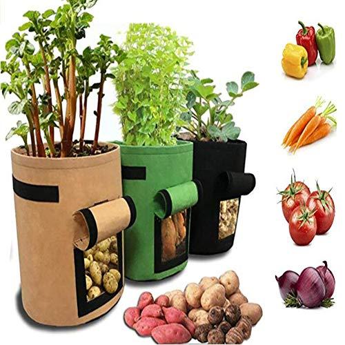 JOEPET 7 Gallonen Pflanzung wachsen Taschen, Fenster Gemüse Pflanzbeutel, Double Layer Premium atmungsaktiv Vliesstoff mit Riemengriffe Kartoffel Pflanzer Tasche (5 Stück) -